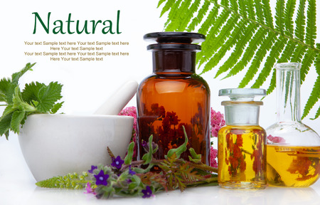 Natural medicine BACH - herbs  therapy. Fresh herbal extract. Alternative therapy, treatment. Archivio Fotografico