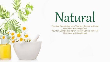 Natural Remedies - space for text. Natural herb white background.