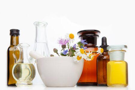 Natural remedies, aromatherapy - bach therapy.Organic bio alternative medicine - relax & spa. Stock Photo