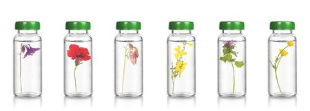 FLORITERAPIA and BACH therapy - natural remedies.  Essential oil, medical bottles floriterapia.