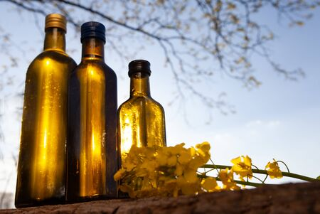 Rapeseed oil (canola) and rape flowers on wooden table.  rapeseed oil outdoor - natural medicien.