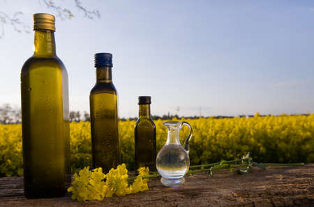 Rapeseed oil set bottles (canola) on background rape field. Imagens