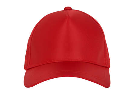 Red blank baseball cap closeup of front view on white background.