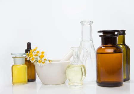 Variety of herbs and essential oil - alternativ medicine.