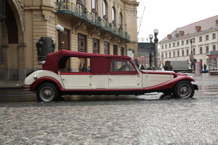 CZECH REPUBLIC - 1/17/2017: classic car parked along the street. Historic tourist vehicle. City tour. Transport and transportation. Traveling and a love of hiking. Éditoriale