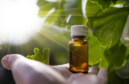 Ginkgo Biloba, green leaf background - extract and bottle. Banque d'images