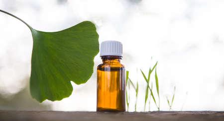 Ginkgo biloba leaves and medicine bottles - horizontal banner.