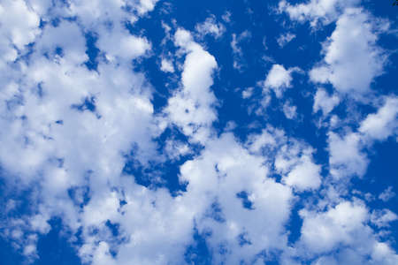 Blue sky with cloud closeup. View Of Clouds In Sky