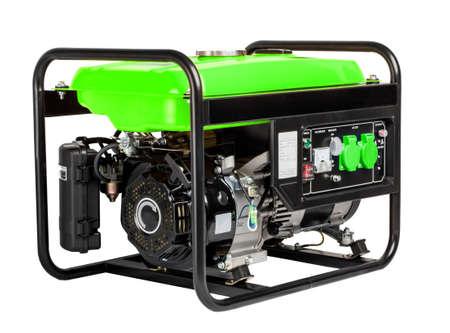 Electric green AC generator alternator, isolated on white.