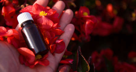 Flower essential Oil in a Brown Bottle - mockup. BACH