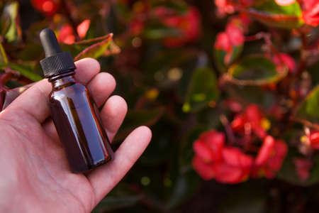 Dropper Bottle Mock-Up, alternativ medicine concept. BACH. 스톡 콘텐츠