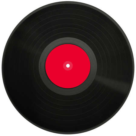Old black vinyl records isolated on white background.