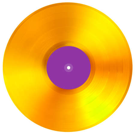 Gold VINYL music disc award isolated. Blank label 版權商用圖片