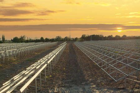 A large solar farm under construction - metal frames.