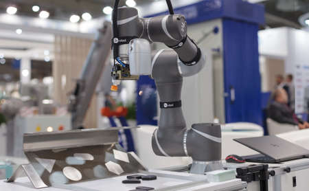 Poznan, Poland 01 Sep 2021: TM ROBOT collaborative robots. Robot arm in technology process, automatic industrial robot. ITM Industry Europe. Editoriali
