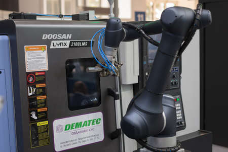 Poznan, Poland 01 Sep 2021: ITM Industry Europe, high-tech EXPO. Doosan Robot arm in technology process, automatic industrial robot. Collaborative robots. Editoriali
