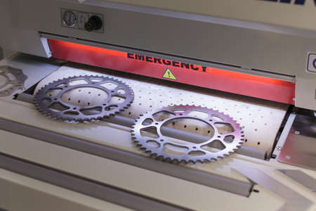 Poznan, Poland 01 Sep 2021: ITM Industry Europe, HIGH TECH EXPO. Items cut using CNC technology Editoriali