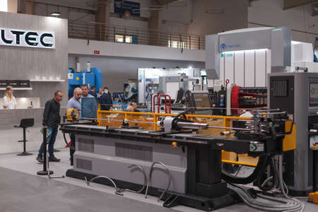 Poznan, Poland 01 Sep 2021: ITM Industry Europe Automatic industrial robot. People Editoriali