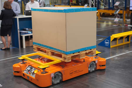 Poznan, Poland 01 Sep 2021: MOBOT AGV mobile robot, warehousing, automatic industrial robot. ITM Industry Europe. HIGH TECH EXPO.