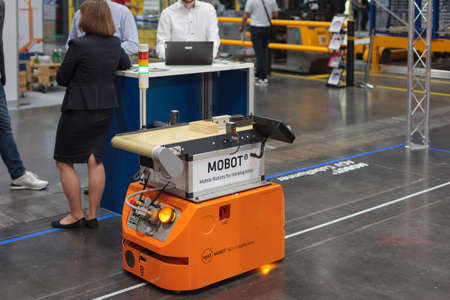 Poznan, Poland 01 Sep 2021: HIGH TECH EXPO. MOBOT AGV mobile robot, warehousing, automatic industrial robot. ITM Industry Europe,