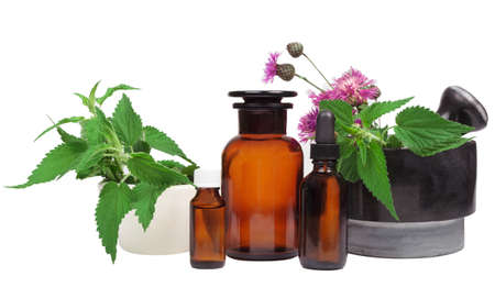 Mortar, fresh herbs and essential oil bottle. Alternative Medicine, herb composition on white background, Isolated. Archivio Fotografico