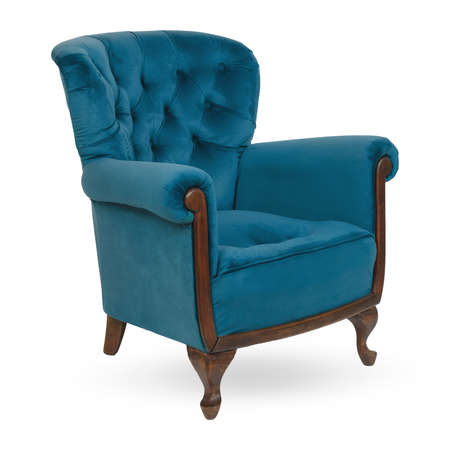Elegant velor turquoise armchair with pillow isolated on white.