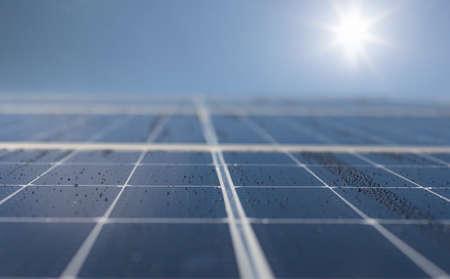 Close-up of Solar energy panel photovoltaics module. Copy space, banner. Archivio Fotografico