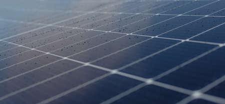 Close-up shot of solar panel. Macro details. Rain on the solar panel. For BANNER