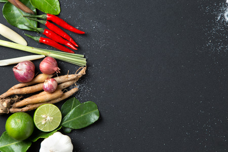 톰 얌 매운 스프의 허브 성분 검은 배경에 전통적인 태국 음식 요리