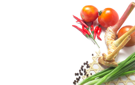 spring leaf: Fresh Vegetable on white isolated traditional ingredient thai cuisine