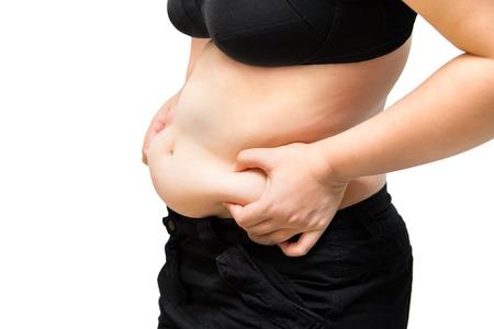 dicke Frau Squeeze Bauch fettleibig plastische Chirurgie Konzept isoliert auf weiß