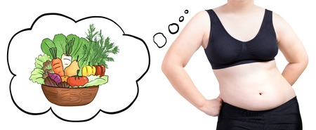 fat woman thinking bubble vegetable diet concept isolated on white background Stock Photo
