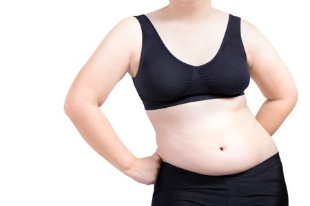 fat woman show lichaam obesitas vormen geïsoleerd op wit Stockfoto