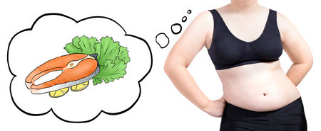 fat woman thinking bubble food fish diet concept isolated on white background Imagens