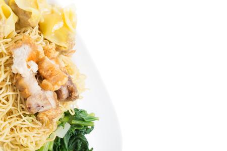 instant noodles pork mince sheet with crispy pork thai food street