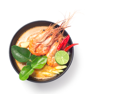 Tom Yum Goong traditional thai food cuisine in Thailand on white isolated background