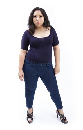 woman plus size standing on studio white background