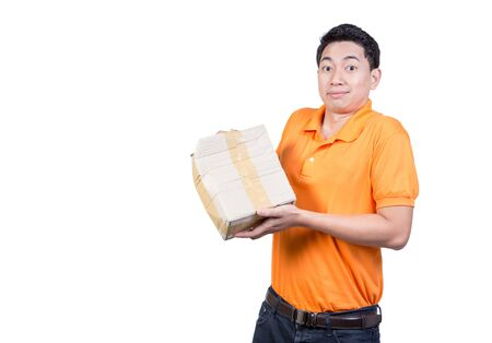 delivery man hand holding damaged box package shocking expression