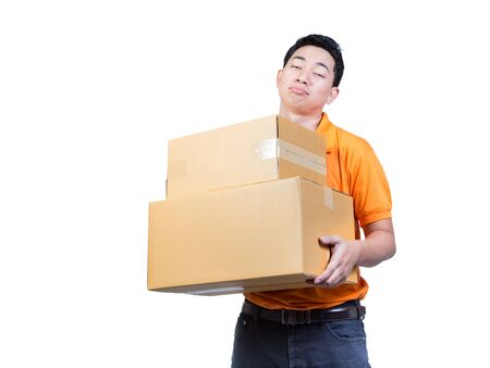 man working hand tired face moving package box delivery transpotation concept