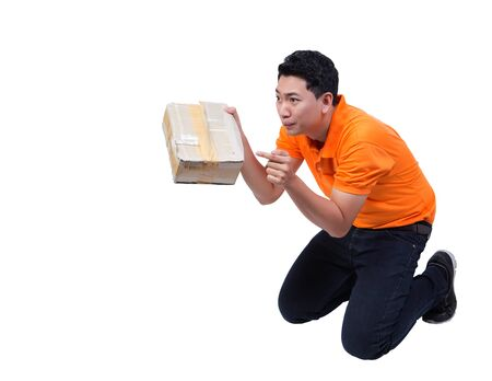 delivery man hand holding damaged box package shocking expression accept mistake