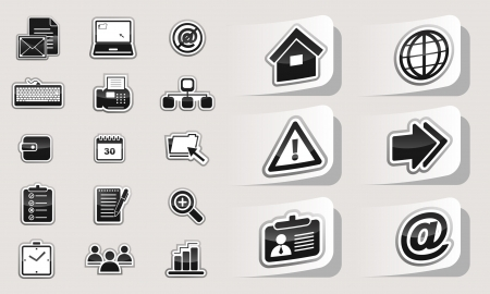 Business icons stickers Stock Vector - 19336183