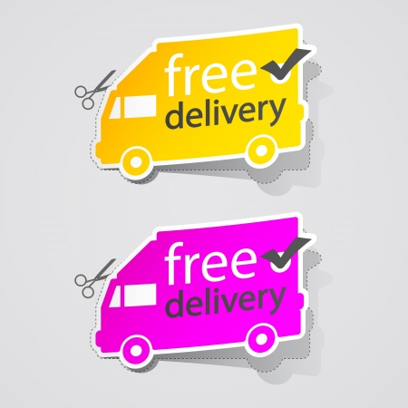 Abstract Free Shipping labe sign