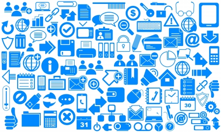 Blue Business Icons Vector