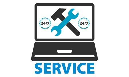 computer repair service 24 7 Ilustrace