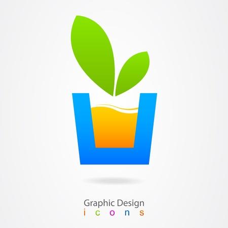 graphic design icon natural juice Stock Vector - 19557171