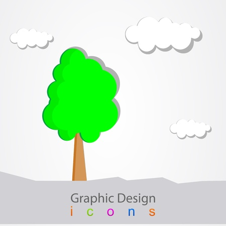 graphic design landscape tree Stock Vector - 19556839