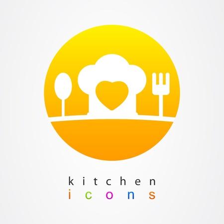 logos restaurantes: Cocina iconos coraz�n