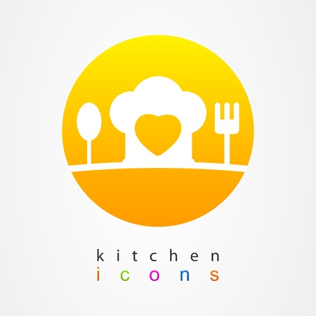 Kitchen icons heart Vector