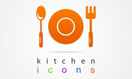 キッチン食品アイコンを設定  イラスト・ベクター素材