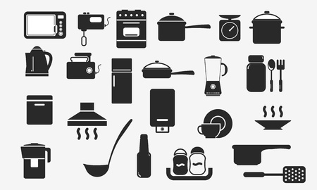 kitchen utensils and appliances icon Ilustrace